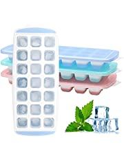 Ice Cube Trays 3 Packs Flexible Silicone Ice Trays with Spill-Resistant Lids Easy Release Ice Trays Make 63 Ice Cube,BPA Free,Stackable,Dishwasher Safe (3 ICE Trays)