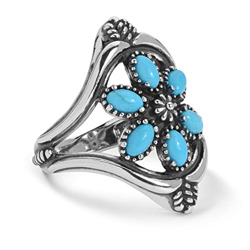 Navajo Silver Turquoise Cluster - American West Sterling Silver Turquoise Gemstone Cluster Ring Size 10