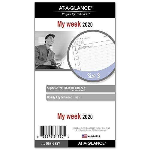 - AT-A-GLANCE 2020 Weekly Planner Refill, Day Runner, 3-3/4