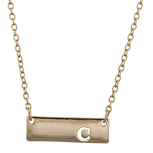 Lux Accessories Gold Tone Cut Out Initial C Letter Personalized Bar Necklace