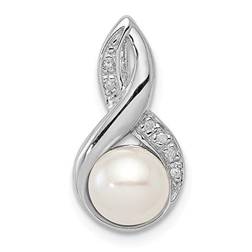 925 Sterling Silver 6mm Freshwater Cultured Pearl Diamond Pendant Charm Necklace Fine Jewelry For Women Gift Set