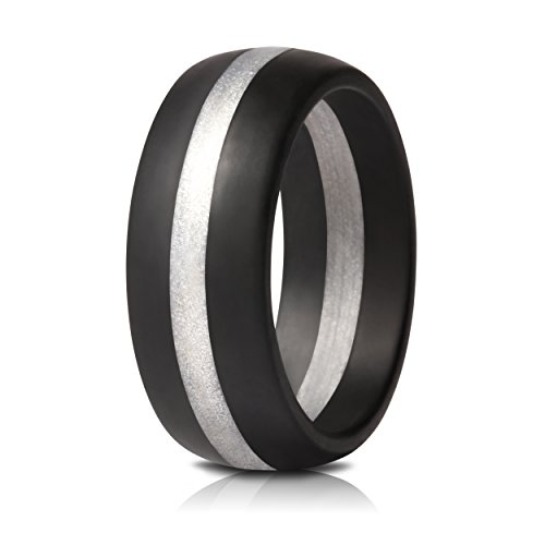Saco Band Mens Silicone Rings Wedding Bands - Single (Black with Silver Line, 8.5 - 9 (5 Pack Silicone Skin)