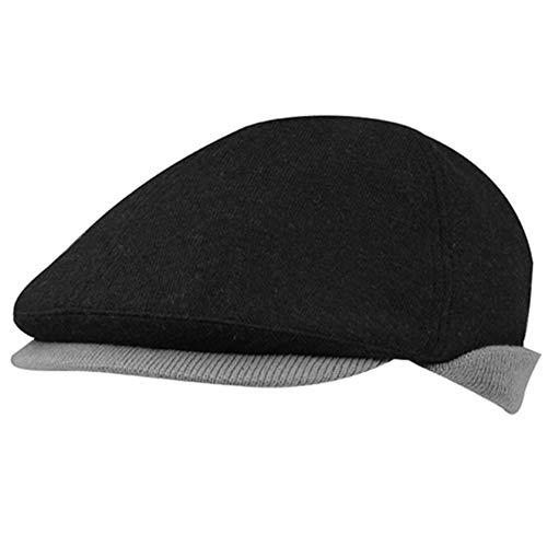 Fully Lined BLACK Winter Wool Blend Ivy Cap w/Grey Earflaps