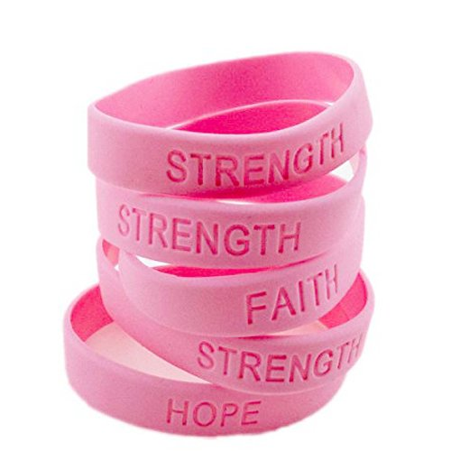 Adorox Hope Women Pink Ribbon Breast Cancer Awareness Bracelets Survivor Love (Solid Pink (12 Pack))