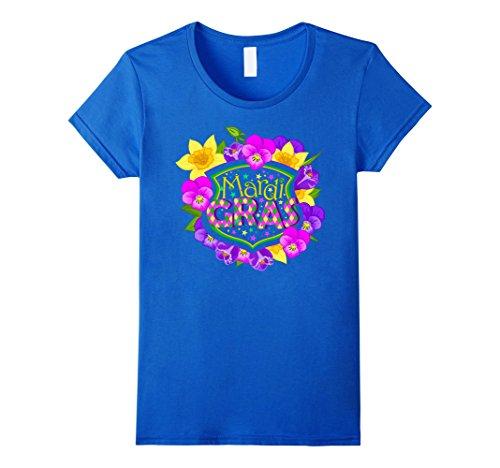 [Women's Mardi Gras - Colorful Mardi Gras Flowers - Gift Idea T-Shirt XL Royal Blue] (Mardi Gras Outfit Ideas)