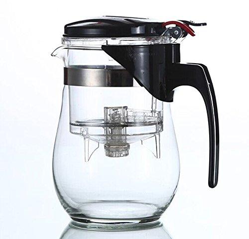 Dewel Teekanne aus Glas und Edelstahl mit Teesieb 1000 ml Glaskanne Teebereiter (1000 ML) HJ-CEA-0972-2