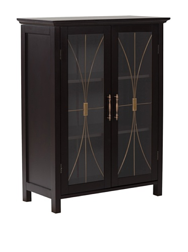 Elegant Home Fashions Delaney 2-Door Floor Cabinet in Dark Espresso