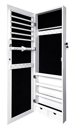 Marvel O Bug Lockable Jewelry Cabinet Wall Door Mounted Jewelry Armoire Organizer Jewelry Box, White