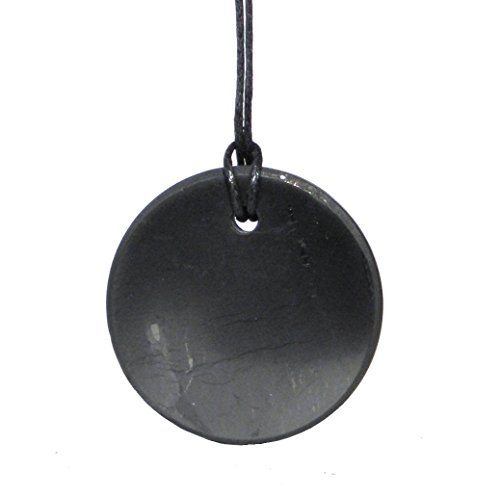 Karelia Shungite Pendant. EMF Protection Stone. Genuine Shungite Guarantee. (Circle)