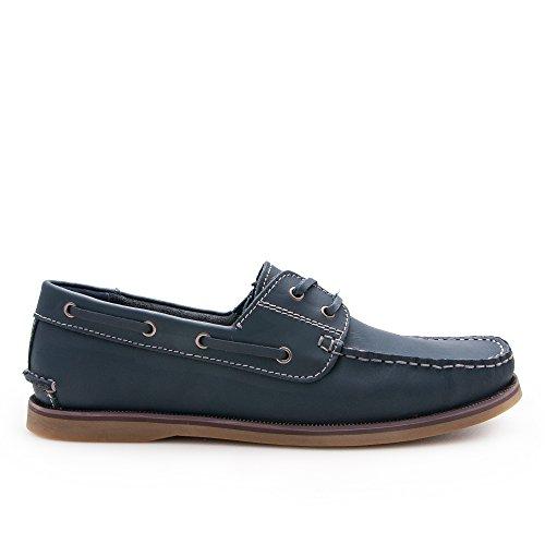 Hombre Hombre Marino Zapato Náutico Azul Náutico para de Piel Zerimar para Z4R8qFAn