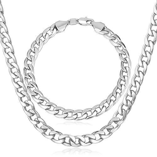 (U7 Men Heavy Chain Punk Jewelry Platinum Plated 7MM Wide Cuban Curb Chain Necklace & Bracelet Set, 28