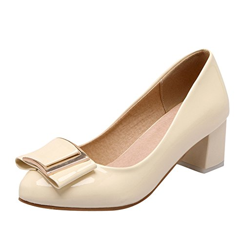 Latasa Femmes Chunky Talons Casual Pompes Beige