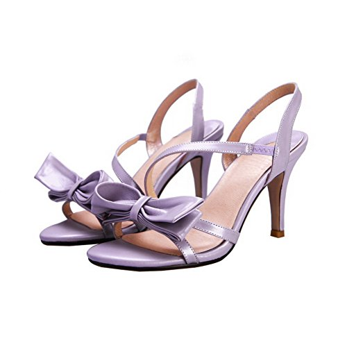 AllhqFashion Womens Open Toe High Heels Solid Cow Leather Sandals with Bowknot and Elasticity Neck Purple NZg8Mm
