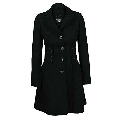 Damen Mantel Jacke Wolleffekt Militär Lang Knöpfe Warm Winter Gefüttert Neu 9001
