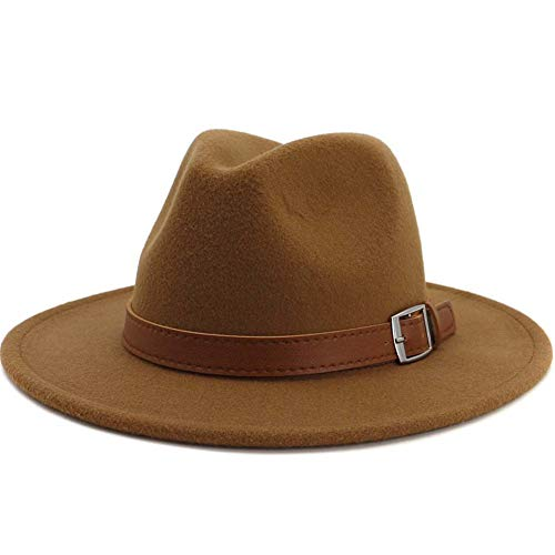 Lisianthus Men & Women Vintage Wide Brim Fedora Hat Khaki 58-60cm