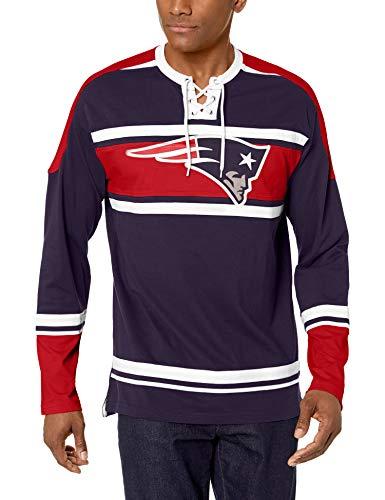 NFL New England Patriots Male OTS Wisner Long sleeve Crew Tee, Light Navy, XX-Large