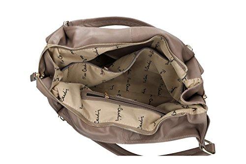 Pam Shop Tasche Damen Schulter Pierre Cardin Shopper Taupe in Leder Made in Italy VN210