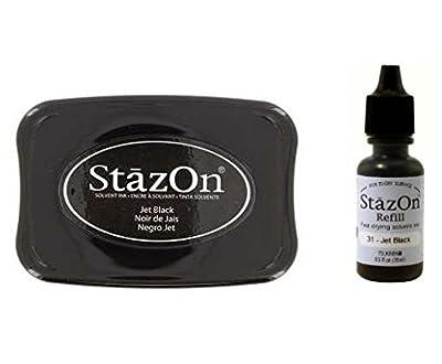 Tsukineko StazOn Jet Black Multi-Surface Solvent Ink Stamp Pad & Re-Inker Refill