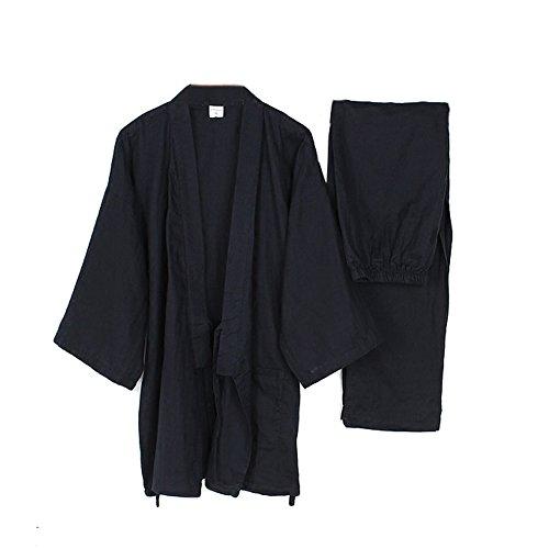 Men's Japanese Style Robes Loose Pure Cotton Kimono Pajamas Suit-Navy XL ()