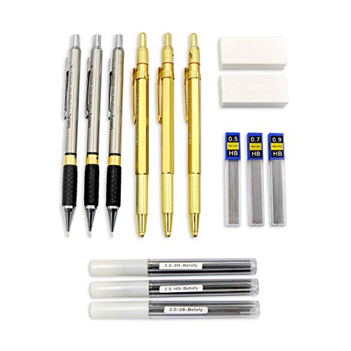 Bellofy Mechanical Pencils Set 14 Piece-0.5, 0.7, 0.9mm Leads-2B, HB, 2H Graphite Lead Holders 2.0mm-54 Lead Refills-2xWhite Eraser-School Supplies Art Set Drawing Pencils-Writing,Drafting,Sketching