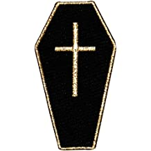 """[Single Count] Custom and Unique (1 1/2"""" by 2 2/3"""" Inches) Goth Death Gothic Casket Coffin Iron On Embroidered Applique Patch {Black and Gold Colors}"""