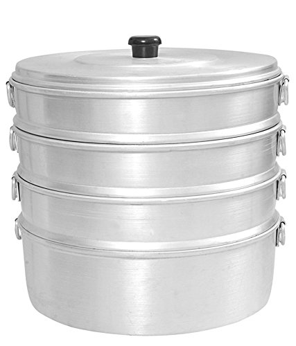 Zmatoo chef catering aluminum steamer/Big size 12.50 inch chef cooking steamer/tamale momo steamer/oil free steamer 3 strainer and one bowl