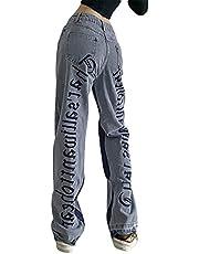 Vrouwen Y2k Baggy Jeans Hoge Taille Brede Been Denim Broek Geborduurde Brief Print Vintage Broek E-Girl Streetwear