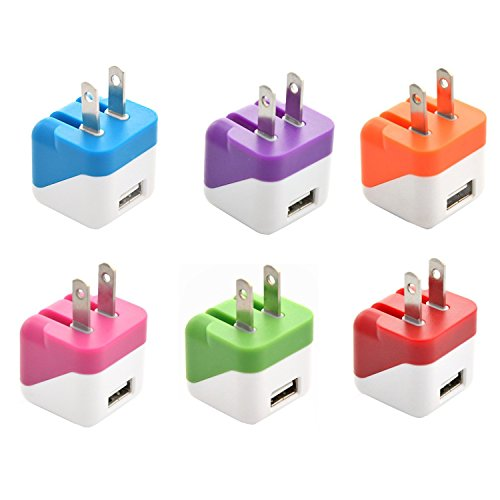 Wall Charger, Costyle 6pcs/lot Colors Lovely 1A Cube Mini Portable Dice USB Wall Home Travel Charger Adapter for iPhone 5 4S 4 3GS, iPods; Motorola Droid RAZR MAXX; Samsung Galaxy S4, S3, S2, Galaxy Note 2, Galaxy Nexus; HTC One X V S, EVO 3D, EVO 4G; other Smart Phones -Hot Pink Purple Blue Green Red Orange