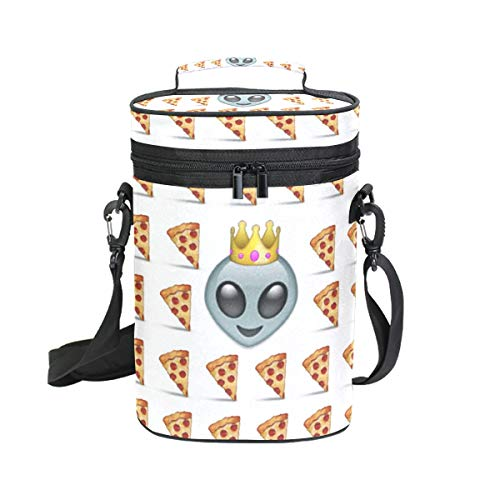 2 Bottle Wine Carrier Food Emoji Wallpaper Insulated Leakproof Padded Wine Cooler Carrying Tote Bag for Travel, Camping and Picnic, Perfect Wine Lover Gift