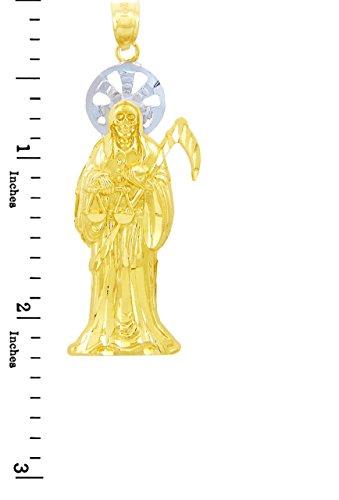 Petits Merveilles D'amour - 10 ct 471/1000 Religieux Charms - The Santa Muerte Deux tons d'or (Grand) Pendentif
