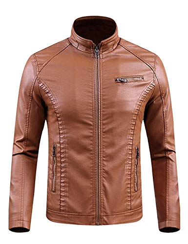 Hanglin Trade Men's Regular Fit Casual Stand Collar Zip-Up Warm PU Leather Jacket(Brown-X-Large