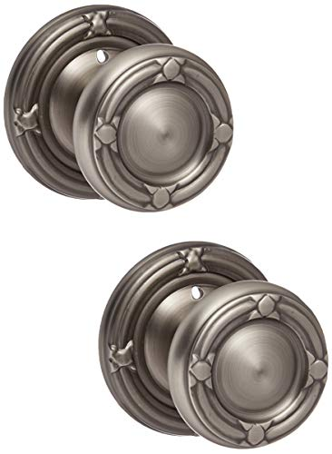 (Ribbon And Reed Door Set With Round Brass Knobs Privacy In Antique Pewter. Doorsets.)