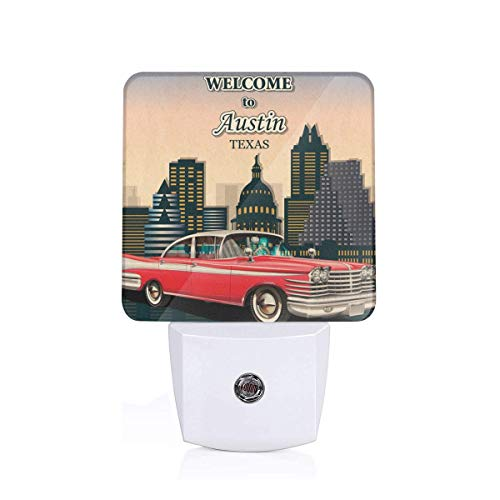 Colorful Plug in Night,Retro Grungy Classical Red American Car and City Landmarks Welcome to Texas Greeting,Auto Sensor LED Dusk to Dawn Night Light Plug in Indoor for Childs Adults