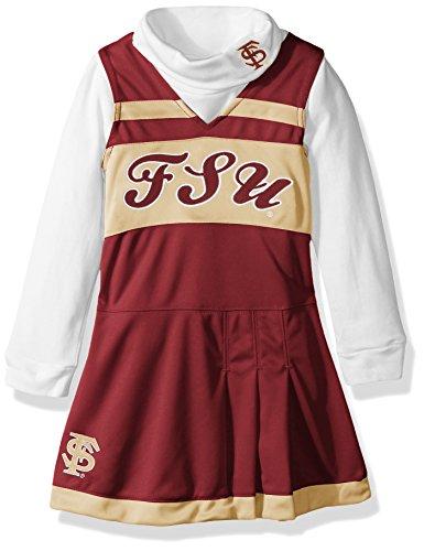 NCAA Florida State Seminoles Kids Girls Cheer Jumper Dress w/Turtleneck Set, Burgundy, Kids Large(6X)