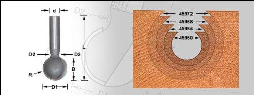 Amana Tool 45962 Carbide Tipped Ball End 5/16 R x 9/16 D x 1/2 CH x 1/2 Inch SHK Router Bit