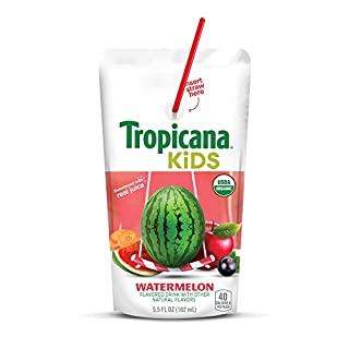 Tropicana 100% Organic Juice Pouch, Watermelon,  5.5 Fluid Ounce Pouches (Pack of 8)