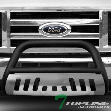 Topline Autopart Matte Black HD Heavyduty Bull Bar Brush Push Front Bumper Grill Grille Guard w/ Chrome Skin Plate 08-14 Ford Econoline E150 E250 E350 Superduty Van