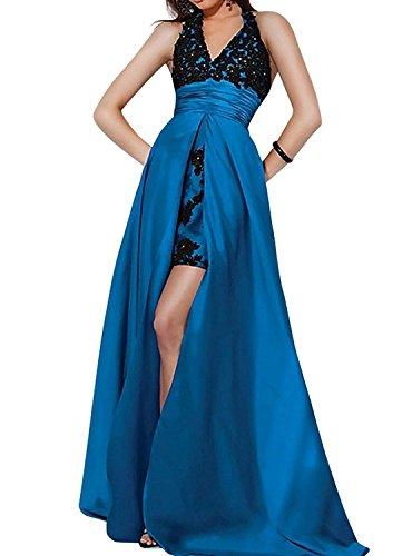Festlichkleider Blau Schleppe Tinte Partykleider Abendkleider mia Ballkleider La mit Brautmutterkleider V Spitze Neckholder Ausschnitt Brau anwfgUCqH