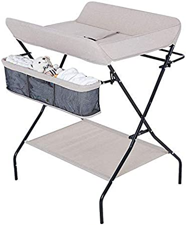 Newborn Changing Table Baby Care Station Newborn Massage Table This Storage Rack Drying Rack Safe and Secure Beige