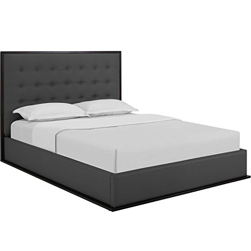 Modern Cappuccino Platform Bed (Modway Madeline Queen Vinyl Bed Frame in Cappuccino Gray)