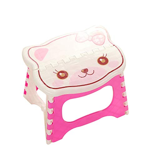Fan-Ling Plastic Multi Purpose Folding Step Stool,Bathroom Children Small Bench,Portable Adult Outdoor Fishing Stool,Home Train Outdoor Storage Foldable (Pink6)