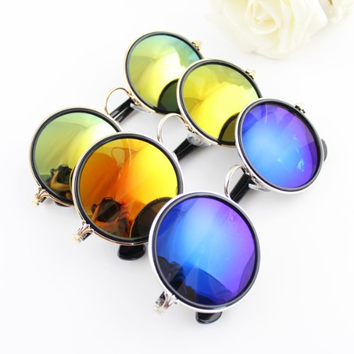 Newest 2014 Fashion Design Round Colorful Lens Sunglasses With Glasses Box For Adult - 2014 Sunglasses Newest