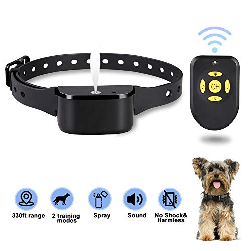 Zeonetak Dog Training Spray Bark Collar with Remote,2 Modes Citronella Control Stop Barking Collar for Dogs Small Medium Large, Adjustable Rechargeable Waterproof No Shock Harmless&Humane, 330ft Range (Dog Citronella Collar)