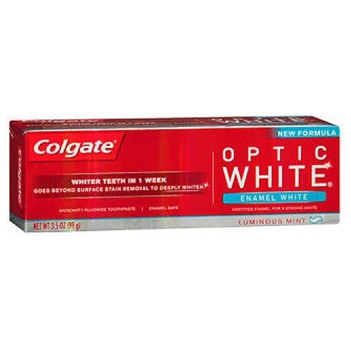Colgate Optic White Anticavity Fluoride Toothpaste, Enamel White, Luminous Mint 3.5 Ounces (Pack of - Colgate Luminous