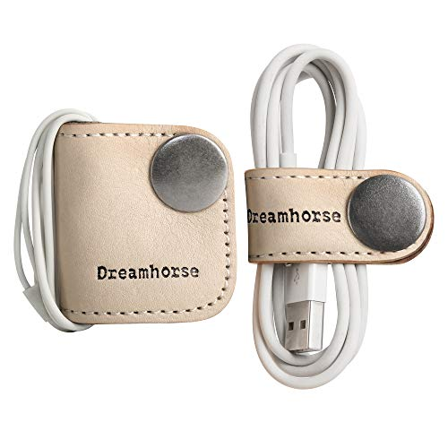Dreamhorse USB Cable Winder Headphone Earphone Wrap Winder Cord Manager Earbud Holders Cord Organizer Earphones Organizer Holder Earbud Wrap Cable Winder with Genuine Leather Handmade Pack of 2 Beige