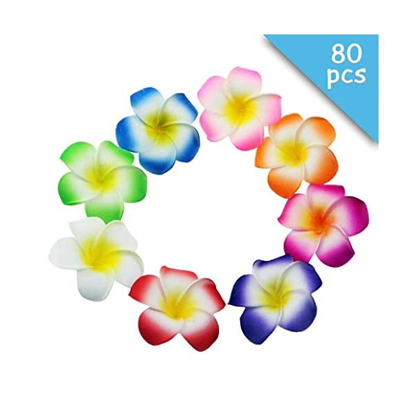 Winterworm 80 Pcs 70mm 3.7inch Mixed Color Sponge Hawaii Hawaiian Plumeria Flower Bridal Wedding Party Beach Jewellery Garland Hair Clip DIY Making Home Decoration