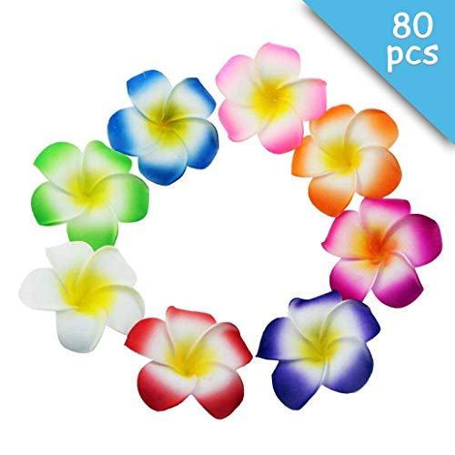 (Winterworm 80 Pcs 70mm 3.7inch Mixed Color Sponge Hawaii Hawaiian Plumeria Flower Bridal Wedding Party Beach Jewellery Garland Hair Clip DIY Making Home Decoration)