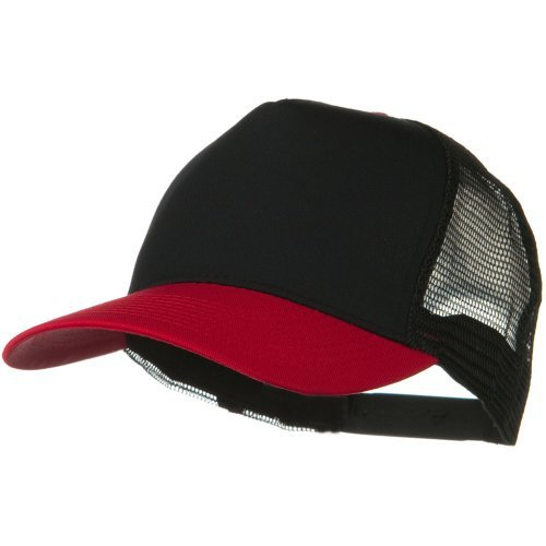 Otto Caps Two Tone Cotton Twill 5 Panel Mesh Back Cap - Red Black - 5 Panel Twill Structured Cap