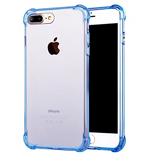 iPhone 7 Plus Case, iPhone 8 Plus Case, iEugen Crystal Clear Shock Absorption Technology Bumper Soft TPU Cover Case for iPhone 7 Plus/iPhone 8 Plus (2017) - Clear (blue)