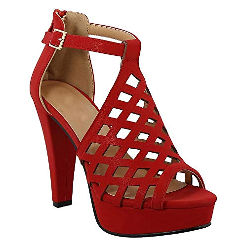 Women's Cage Cut Out Stacked High Heel Open Toe Pump Platform Sandals Red 8